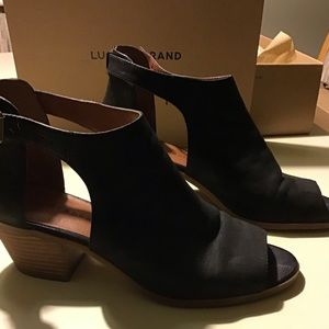 Lucky Brand black open toed booties